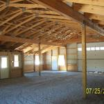 The inside of the pole barn