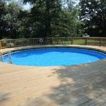 Cut-out deck around above ground pool